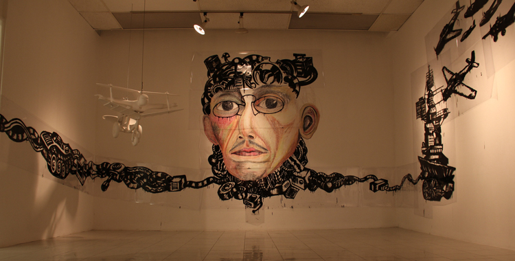 Super multi-dimensional time bandit features the caricatured head of Felix Resurreccion Hidalgo surrounded by artifacts of war and destruction.