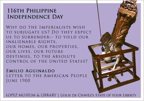 Emilio Aguinaldo's Letter to the American People juxtaposed with Leslie de Chavez's State of Your Liberty
