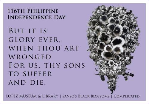 Juvenal Sanso's Black Blossoms juxtaposed with the last stanza of Lupang Hinirang (National Anthem)