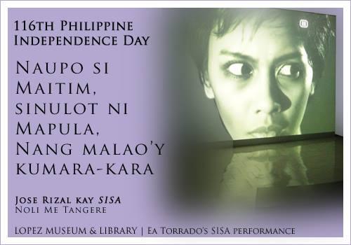 Jose Rizal on Sisa in Noli Me Tangere, juxtaposed with Ea Torrado's video performace of Sisa