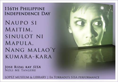 Jose Rizal on Sisa in Noli Me Tangere, juxtaposed with Ea Torrado's video performace of Sisa