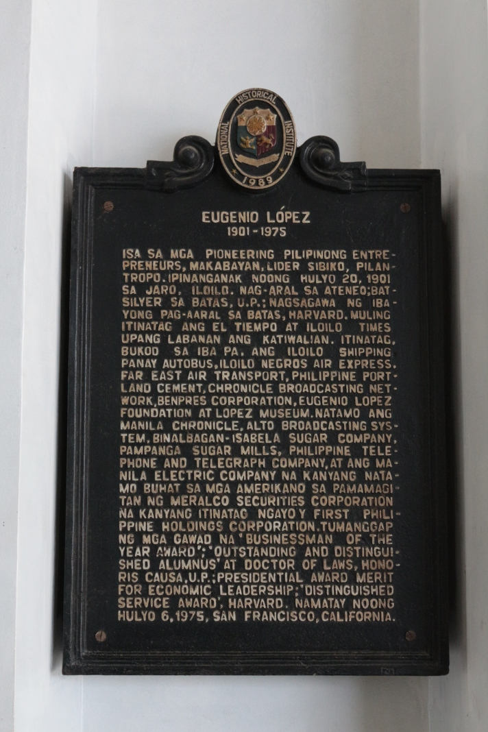 The Lopez Museum and Library is at the ground floor of the Benpres Building which carries a 1989 historical marker for López Patriarch and Founder Don Eugenio López by the National Historical Institute (now National Historical Commission of the Philippines). Located in the City of Pasig since 1986, the Lopez Museum and Library has been serving the nation for more than fifty years.