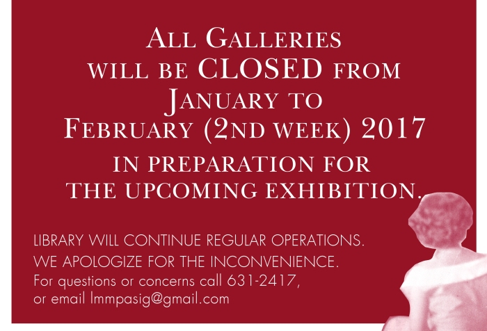 January to February Galleries are CLOSED