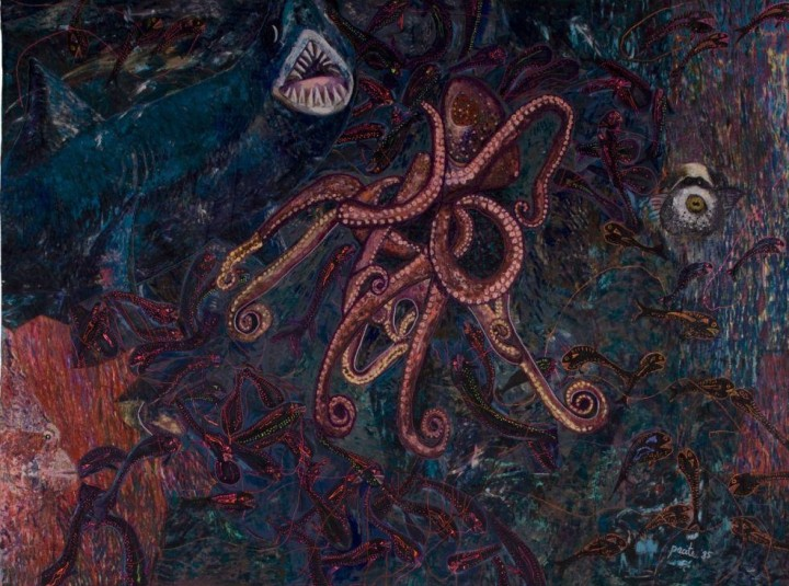 Pacita Abad - My Fear of Night Diving: Assualting the Deep Sea (1985).. Oil on acrylic, cotton, yarn, broken glass, plastic beads and buttons, stitched as padded canvas. Lopez Museum and Library Collection.